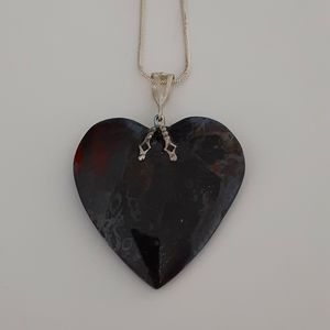 Jewelry - Handcrafted Fire Agate Heart Pendant